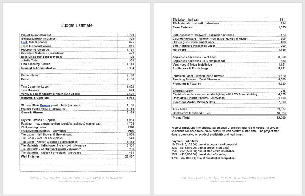 home remodeling estimate